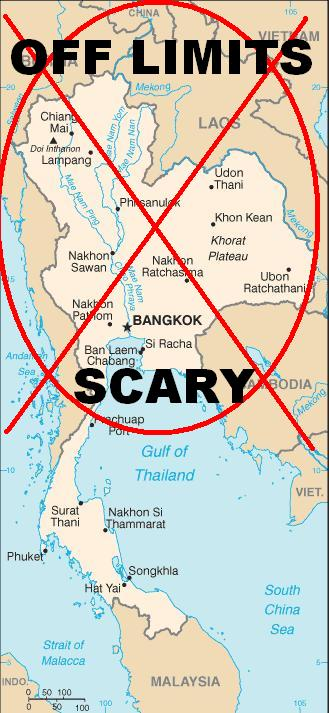 Thailand travel warning map